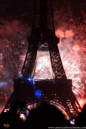 Paris France Fête Nationale du 14 juillet firework show at the Eiffel Tower. Known as Bastille Day in English speaking countries